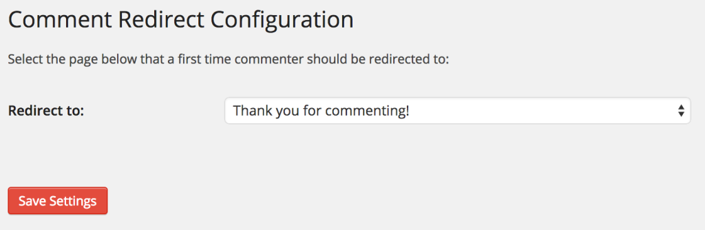 comment redirect plugin screen