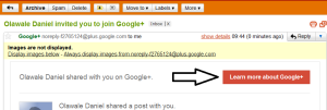accepting google plus invitation by email