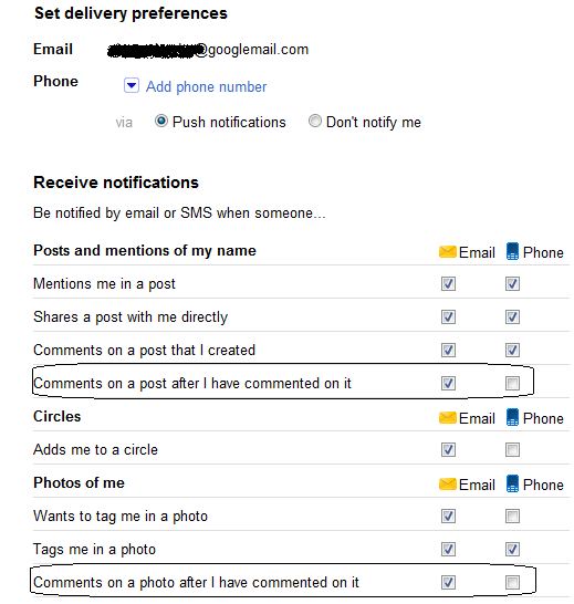 set google plus delivery preferences