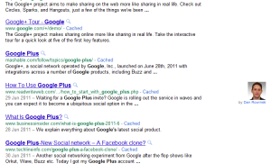 SERP displaying verified author