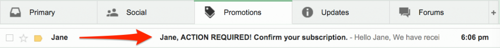 Confirm subscription Promotions tab