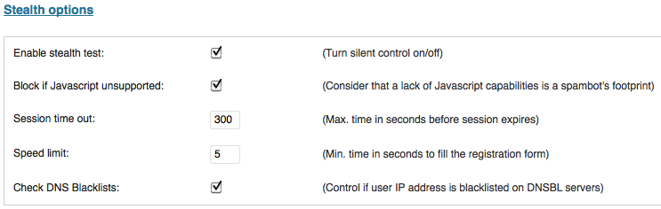 SABRE user spam registration plugin stealth options