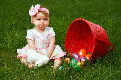 Sad Baby with less Easter eggs