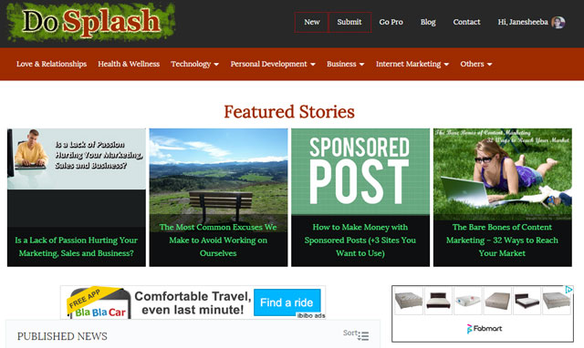 Launching DoSplash blogging community for bloggers