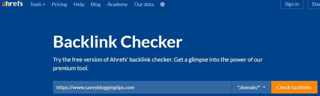 Backlink Checker from Ahrefs